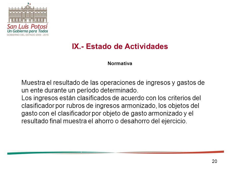 IX.- Estado de Actividades