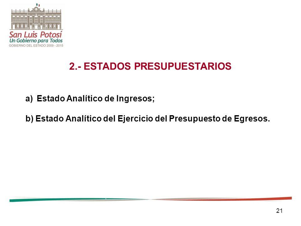 2.- ESTADOS PRESUPUESTARIOS