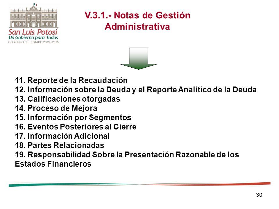 V.3.1.- Notas de Gestión Administrativa