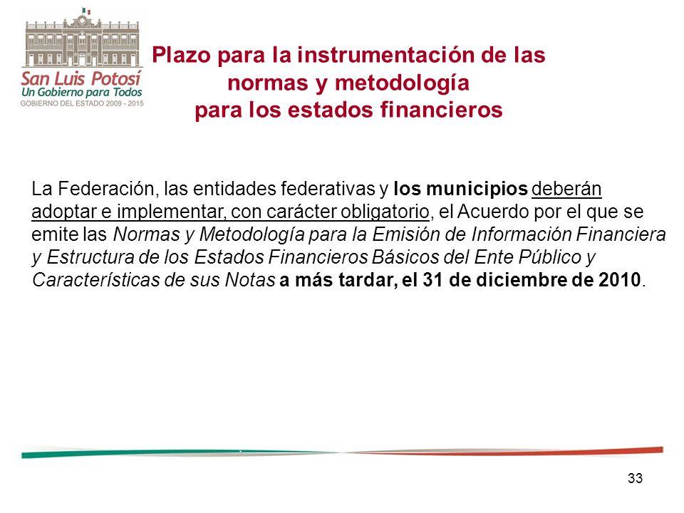 Plazo para la instrumentación de las para los estados financieros
