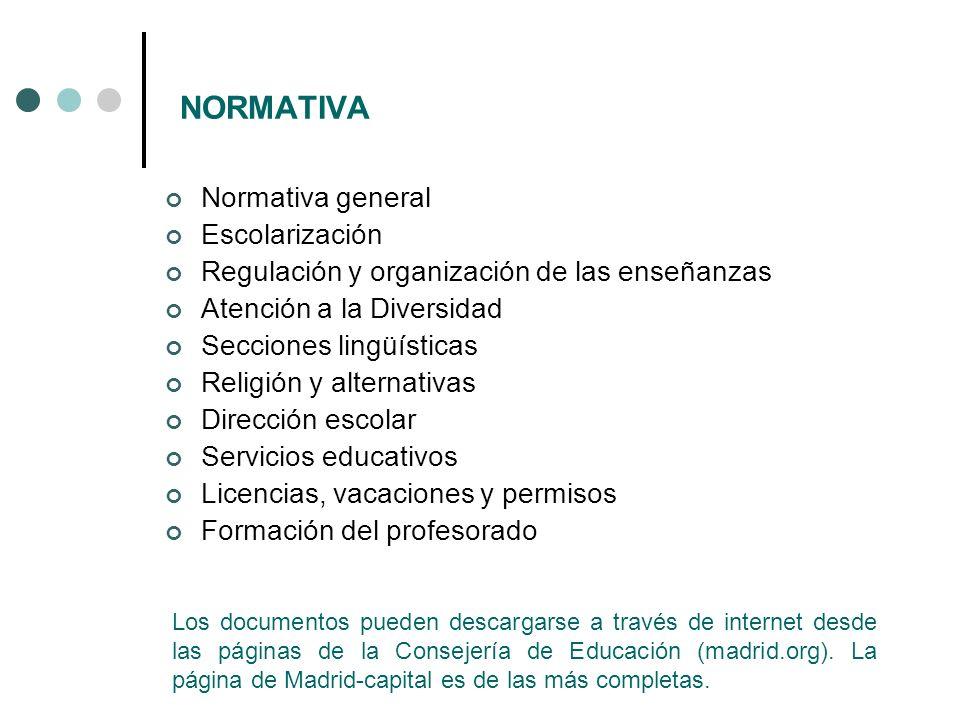 NORMATIVA Normativa general Escolarización