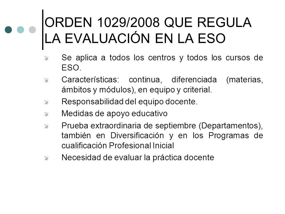ORDEN 1029/2008 QUE REGULA LA EVALUACIÓN EN LA ESO