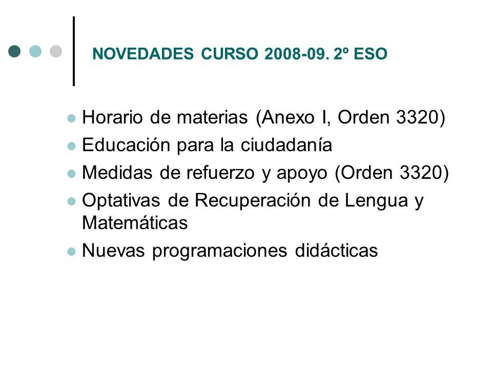 Horario de materias (Anexo I, Orden 3320) Educación para la ciudadanía
