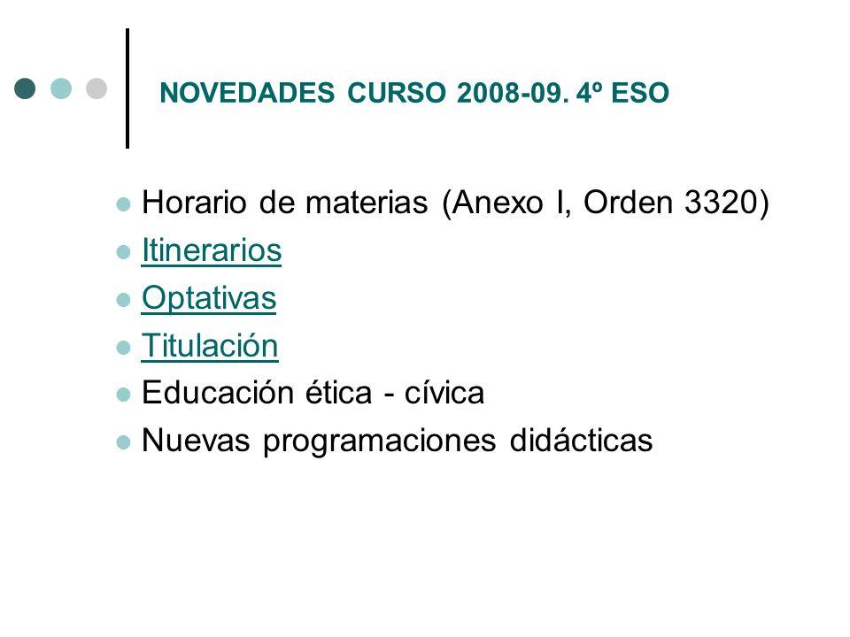 Horario de materias (Anexo I, Orden 3320) Itinerarios Optativas