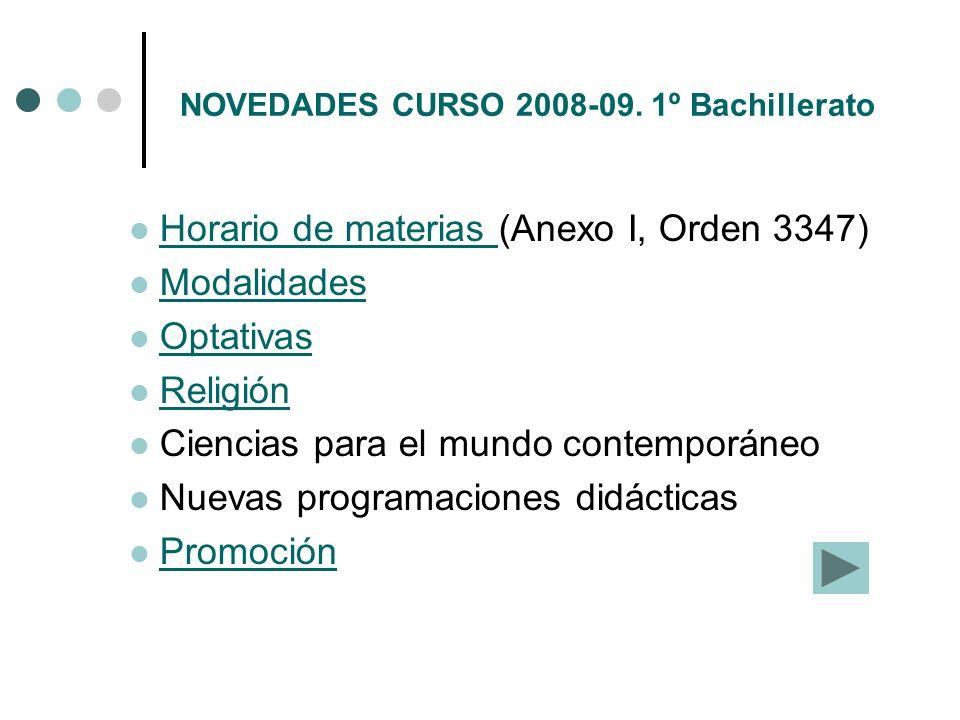 NOVEDADES CURSO 2008-09. 1º Bachillerato