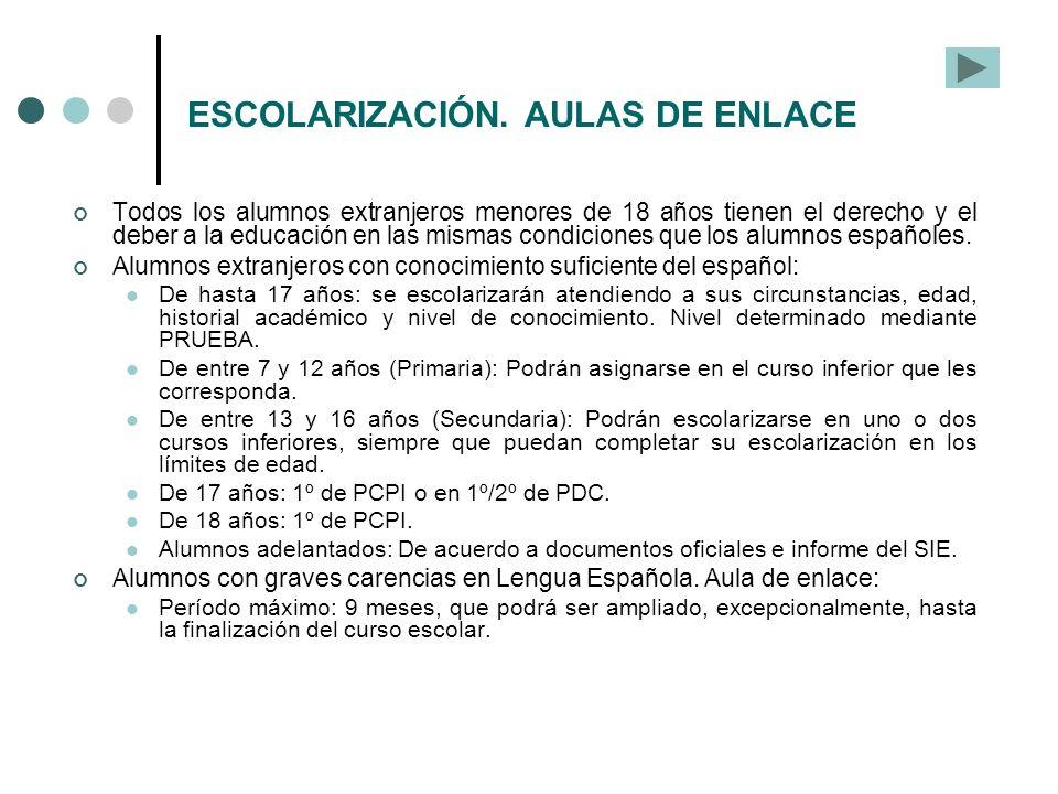 ESCOLARIZACIÓN. AULAS DE ENLACE
