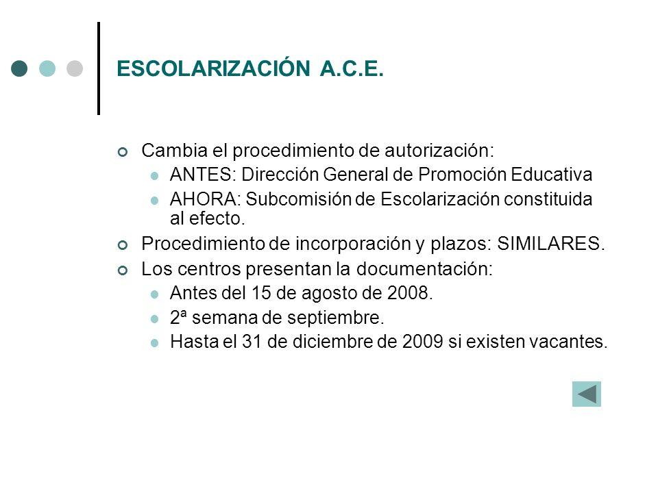 ESCOLARIZACIÓN A.C.E. Cambia el procedimiento de autorización: