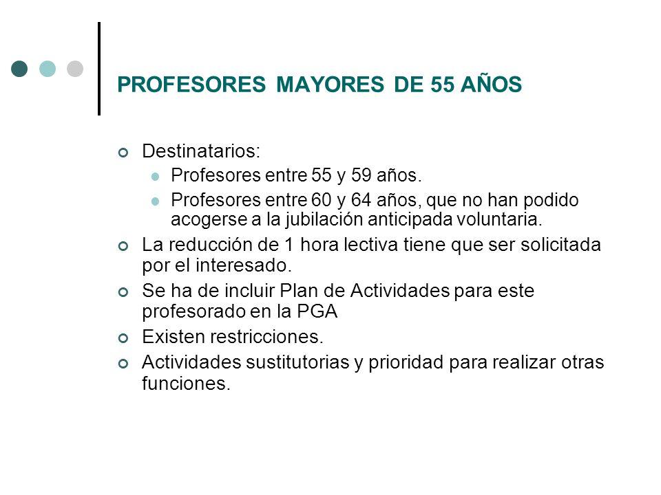 PROFESORES MAYORES DE 55 AÑOS