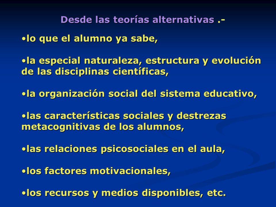Desde las teorías alternativas .-