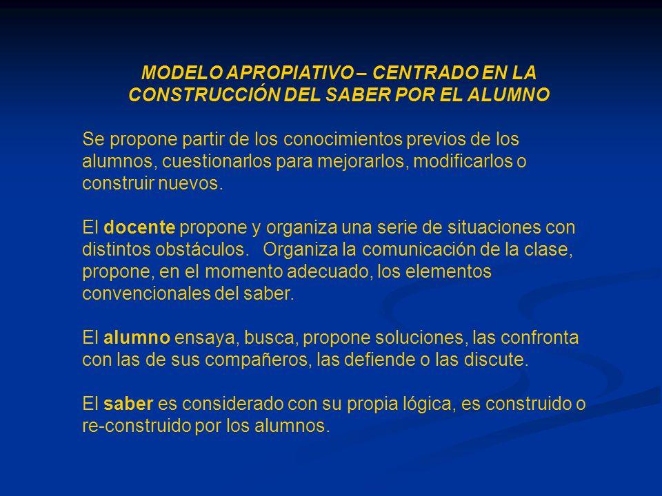 MODELO APROPIATIVO – CENTRADO EN LA CONSTRUCCIÓN DEL SABER POR EL ALUMNO