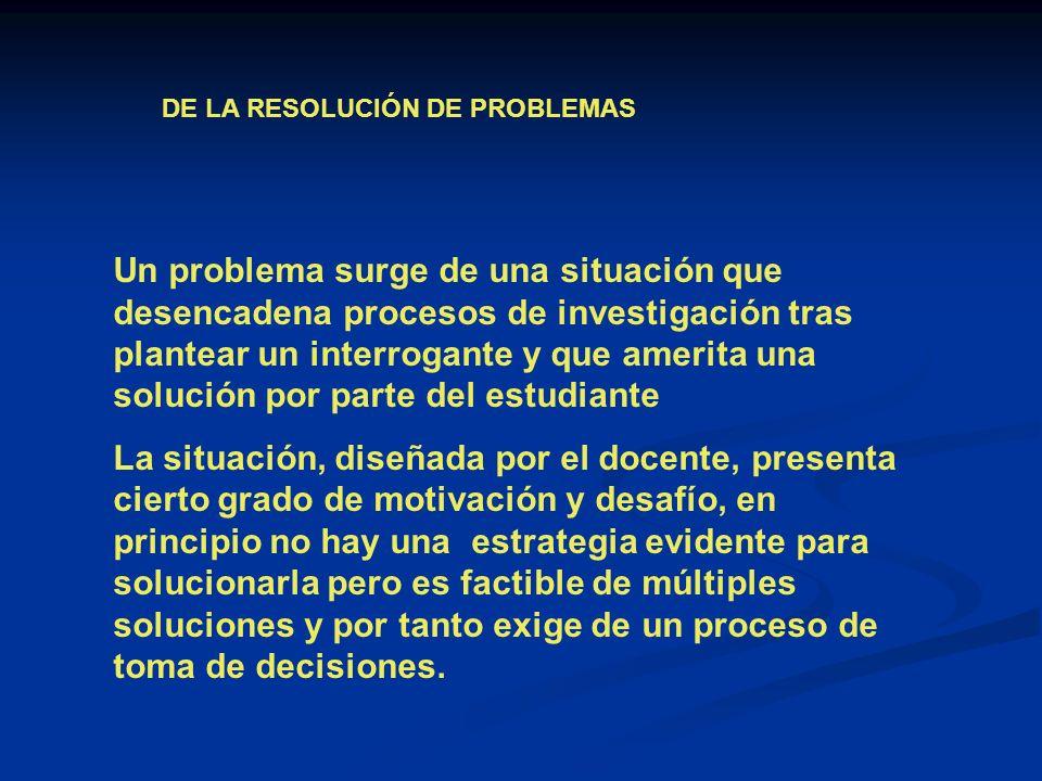 DE LA RESOLUCIÓN DE PROBLEMAS