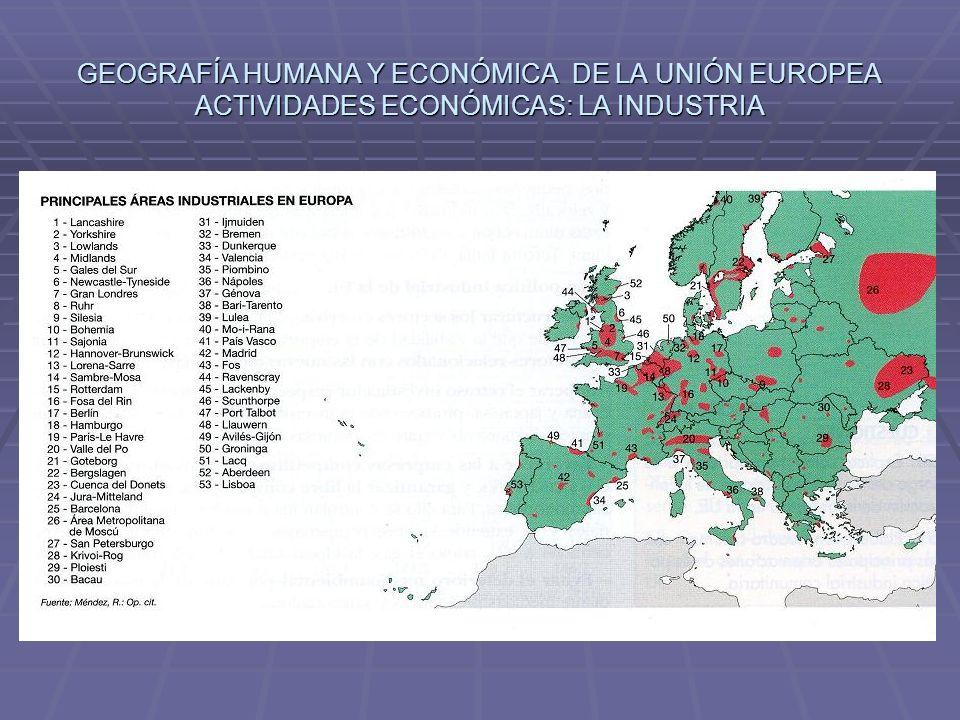 GEOGRAFÍA HUMANA Y ECONÓMICA DE LA UNIÓN EUROPEA ACTIVIDADES ECONÓMICAS: LA INDUSTRIA