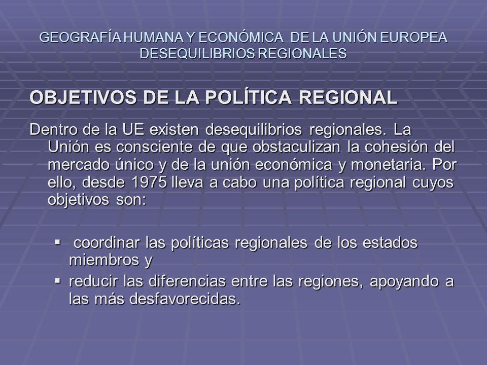 OBJETIVOS DE LA POLÍTICA REGIONAL