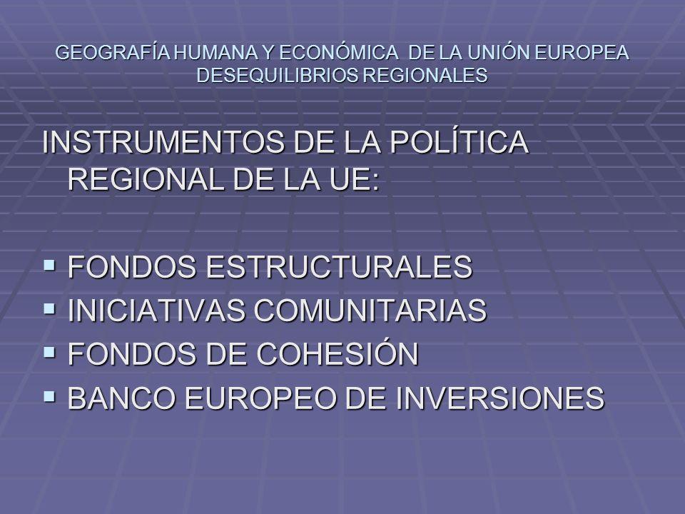 INSTRUMENTOS DE LA POLÍTICA REGIONAL DE LA UE: