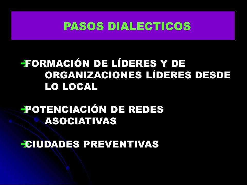 PASOS DIALECTICOS FORMACIÓN DE LÍDERES Y DE ORGANIZACIONES LÍDERES DESDE LO LOCAL. POTENCIACIÓN DE REDES ASOCIATIVAS.