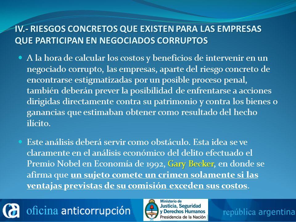 IV.- RIESGOS CONCRETOS QUE EXISTEN PARA LAS EMPRESAS QUE PARTICIPAN EN NEGOCIADOS CORRUPTOS
