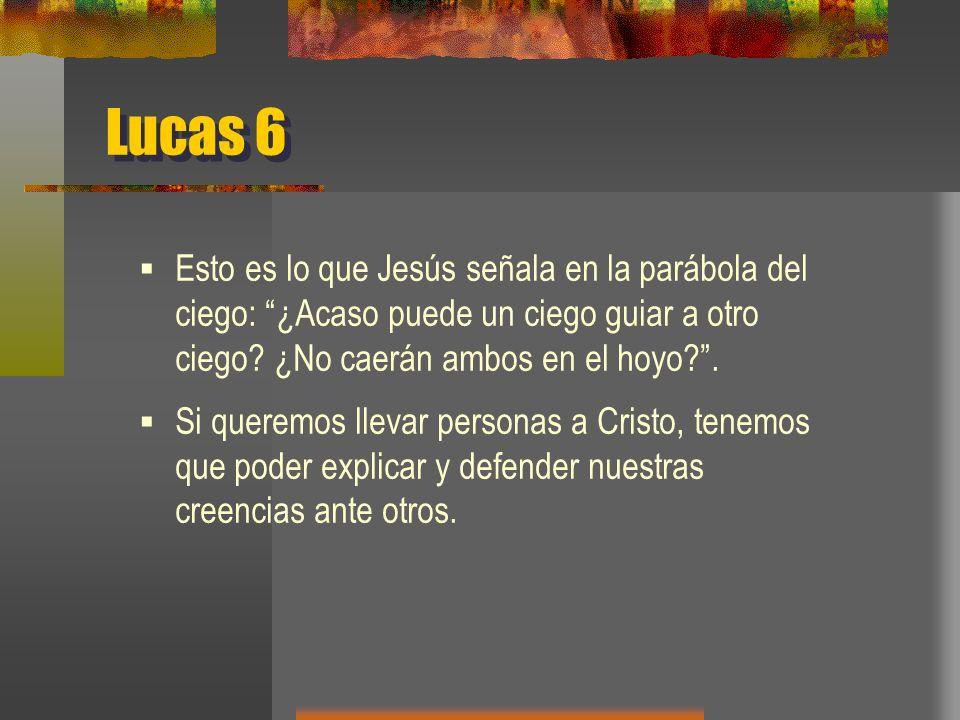 Lucas 6 Esto es lo que Jesús señala en la parábola del ciego: ¿Acaso puede un ciego guiar a otro ciego ¿No caerán ambos en el hoyo .