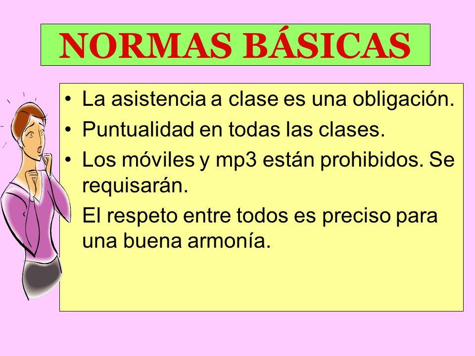 NORMAS BÁSICAS La asistencia a clase es una obligación.