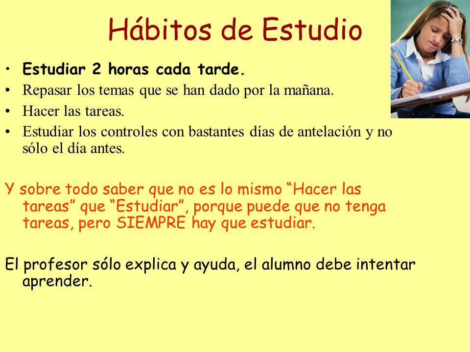Hábitos de Estudio Estudiar 2 horas cada tarde.