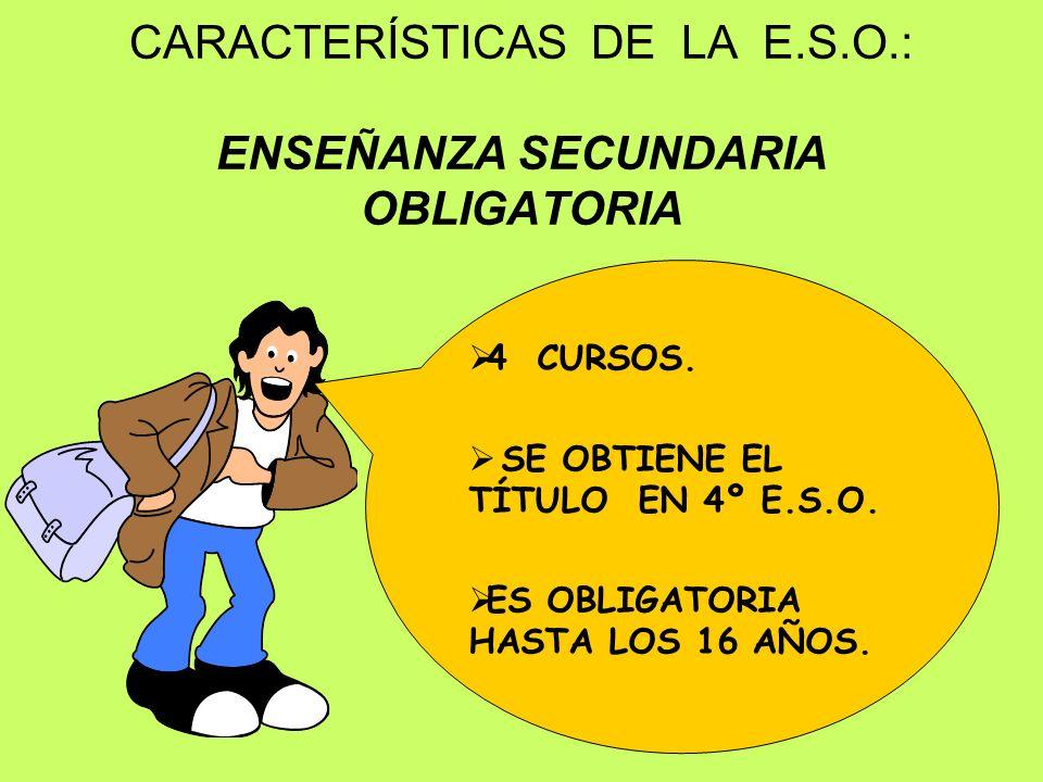CARACTERÍSTICAS DE LA E.S.O.: ENSEÑANZA SECUNDARIA OBLIGATORIA