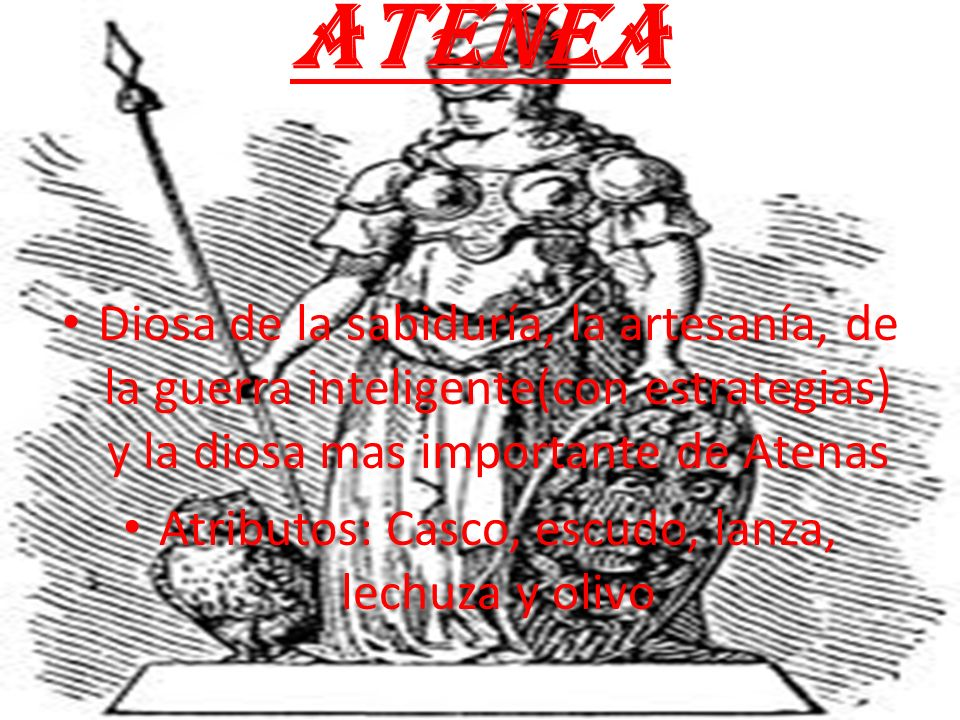 Atributos: Casco, escudo, lanza, lechuza y olivo