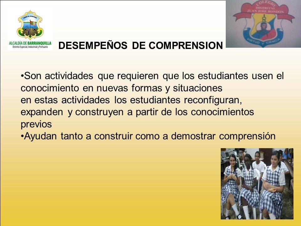 DESEMPEÑOS DE COMPRENSION