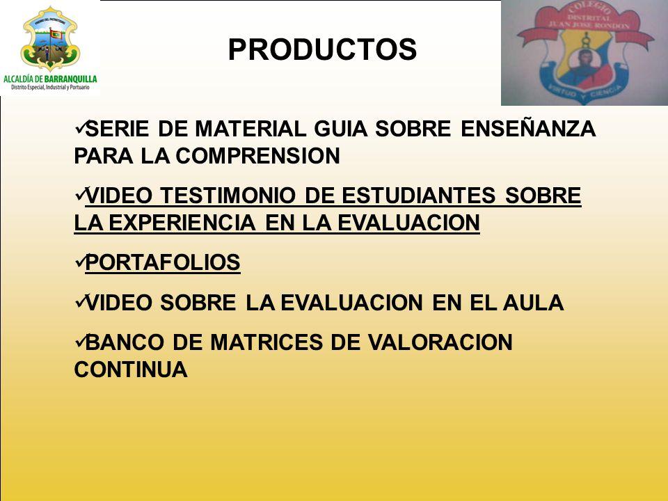 PRODUCTOS SERIE DE MATERIAL GUIA SOBRE ENSEÑANZA PARA LA COMPRENSION