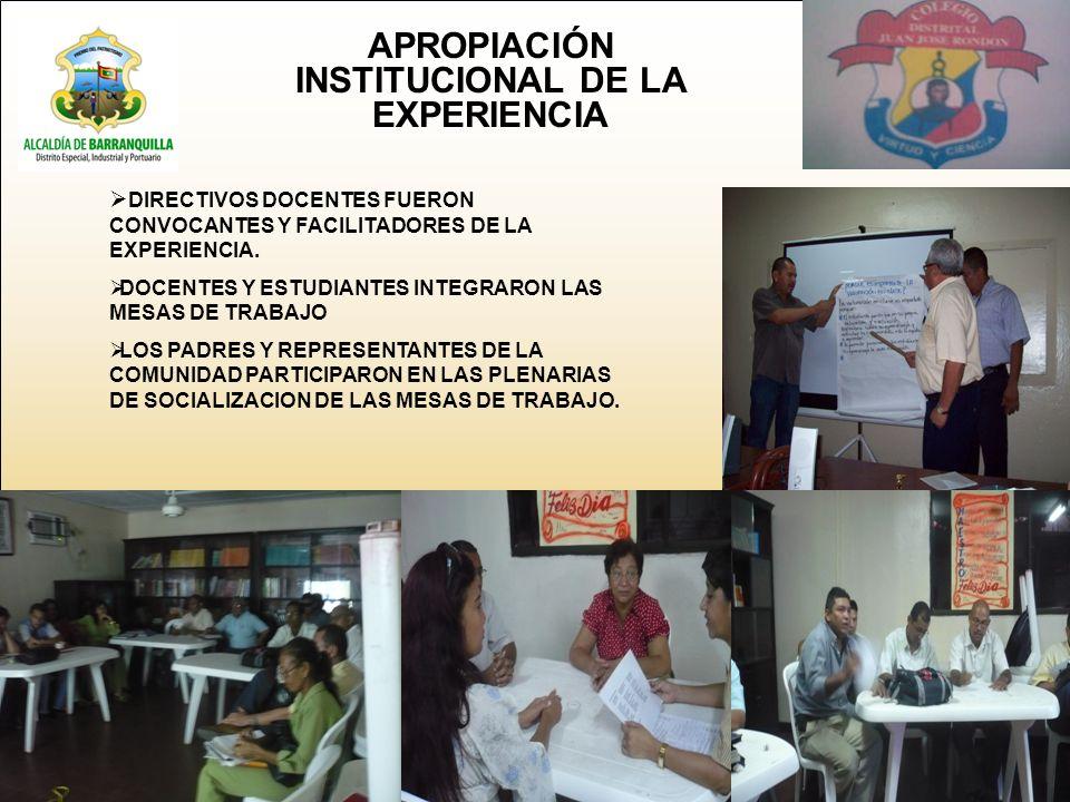 APROPIACIÓN INSTITUCIONAL DE LA EXPERIENCIA