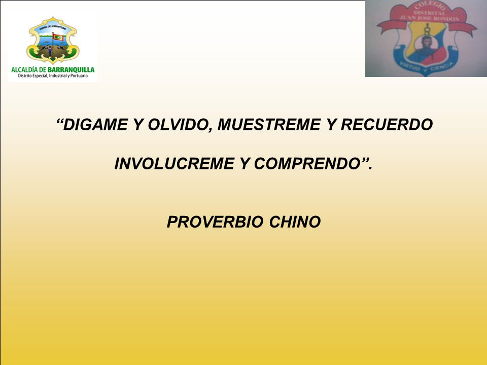 DIGAME Y OLVIDO, MUESTREME Y RECUERDO INVOLUCREME Y COMPRENDO .