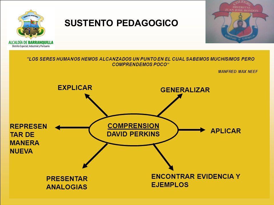 SUSTENTO PEDAGOGICO EXPLICAR GENERALIZAR COMPRENSION