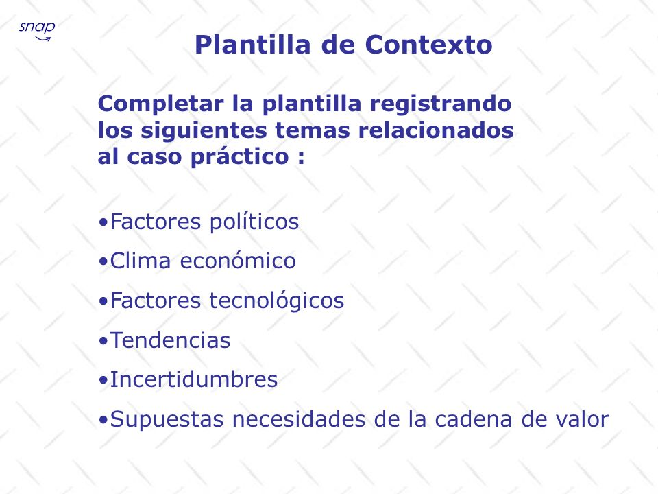 Plantilla de Contexto Completar la plantilla registrando