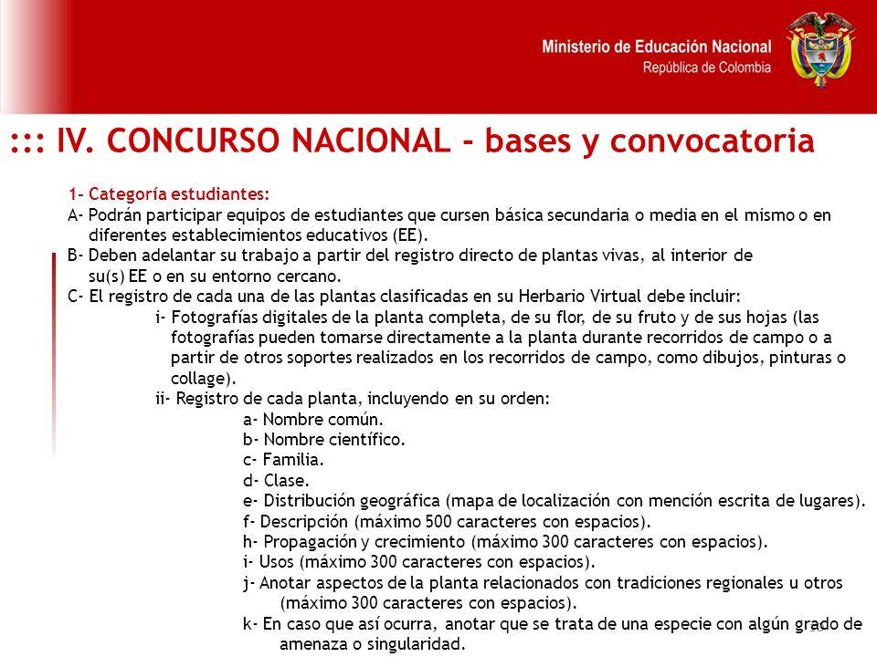 ::: IV. CONCURSO NACIONAL - bases y convocatoria