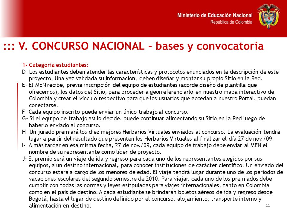 ::: V. CONCURSO NACIONAL - bases y convocatoria