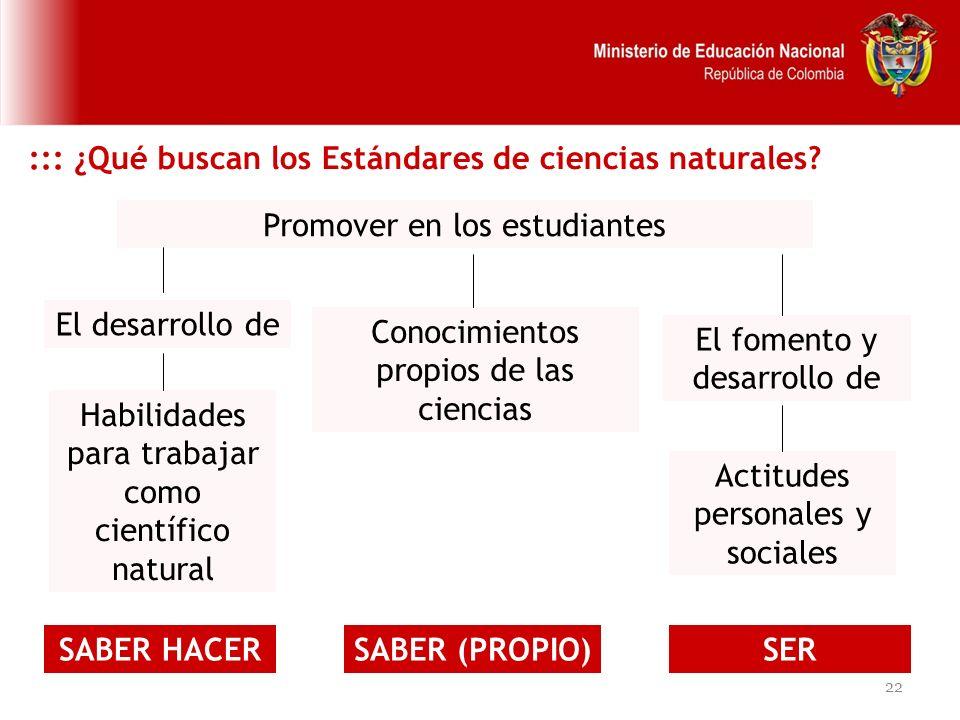 ::: ¿Qué buscan los Estándares de ciencias naturales