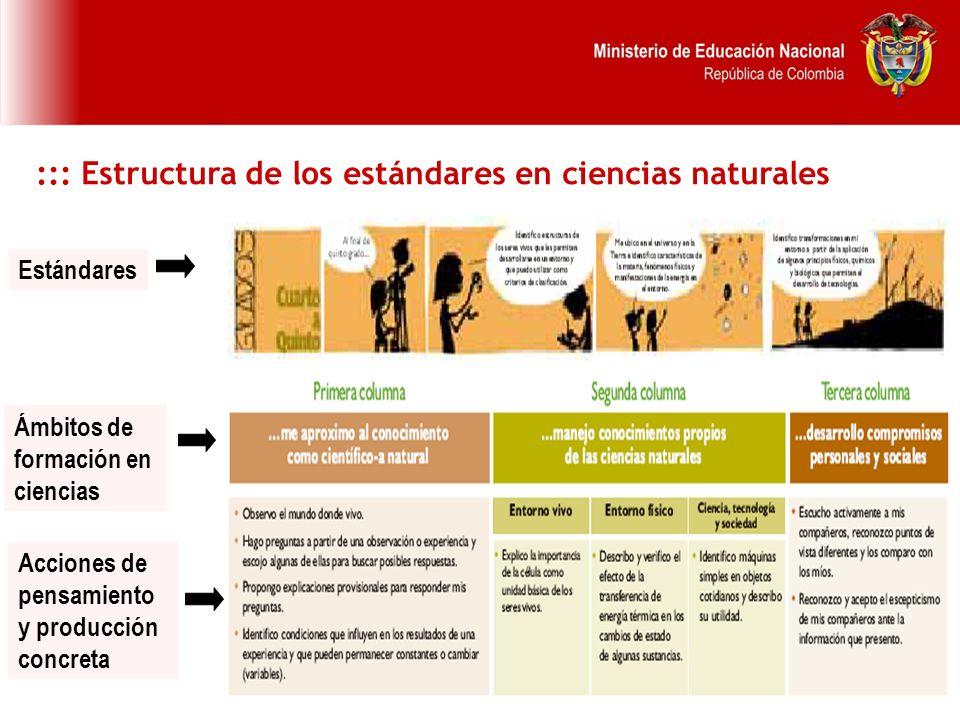 ::: Estructura de los estándares en ciencias naturales