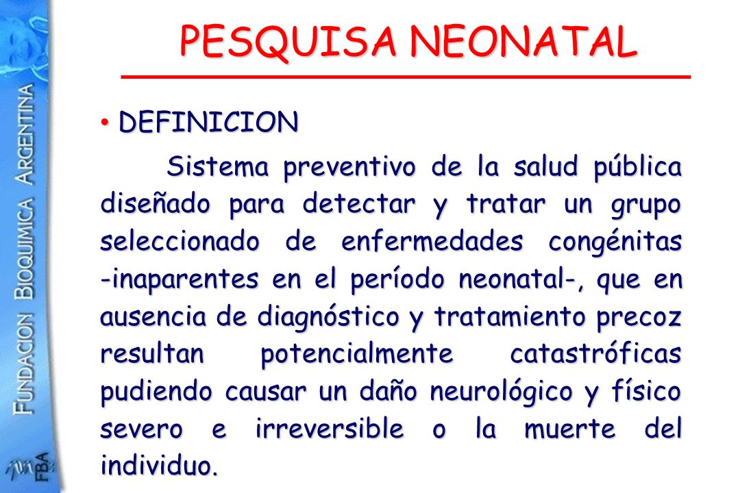 PESQUISA NEONATAL DEFINICION