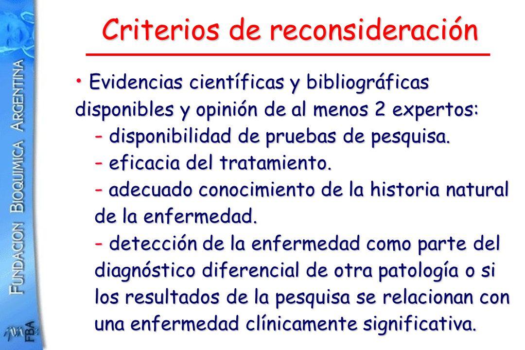 Criterios de reconsideración