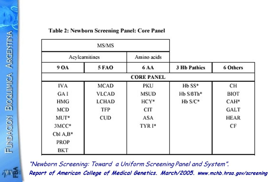Newborn Screening: Toward a Uniform Screening Panel and System .
