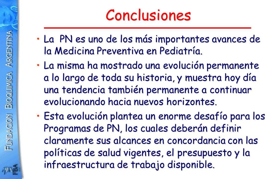 Conclusiones La PN es uno de los más importantes avances de la Medicina Preventiva en Pediatría.