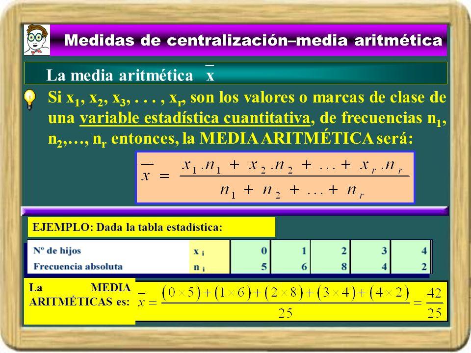 Medidas de centralización–media aritmética