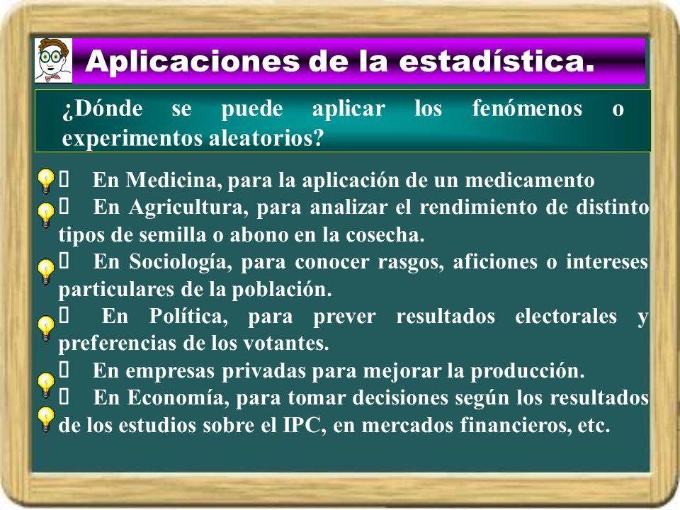 Aplicaciones de la estadística.