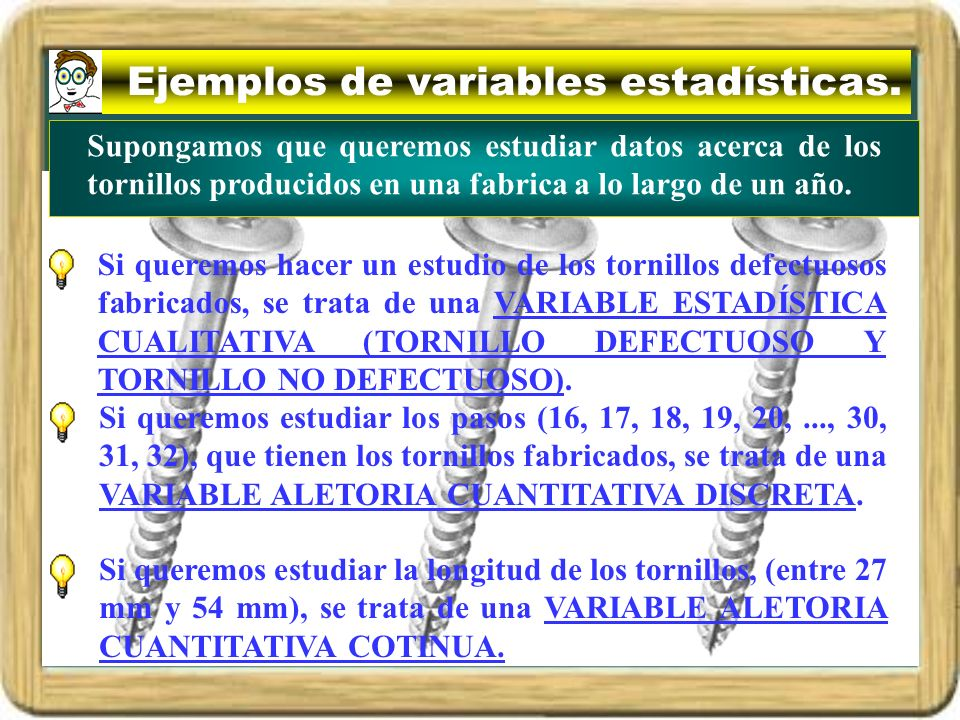 Ejemplos de variables estadísticas.