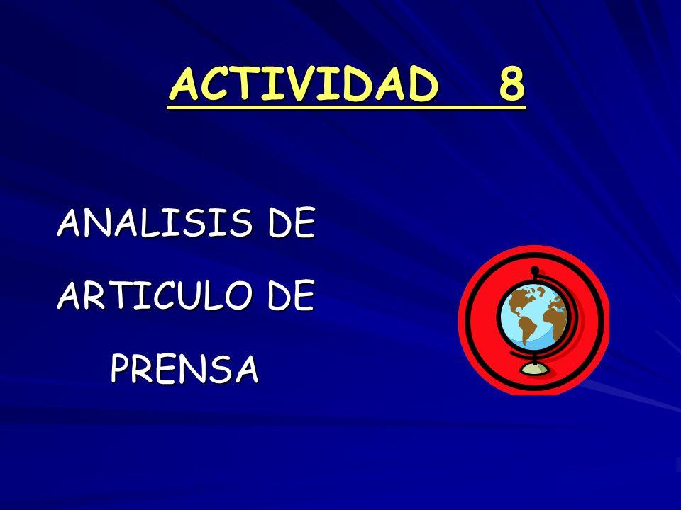 ACTIVIDAD 8 ANALISIS DE ARTICULO DE PRENSA