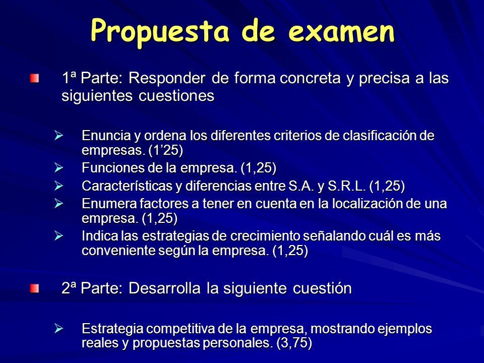 Propuesta de examen 1ª Parte: Responder de forma concreta y precisa a las siguientes cuestiones.