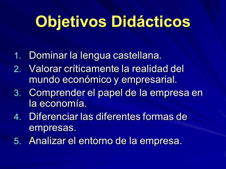 Objetivos Didácticos Dominar la lengua castellana.