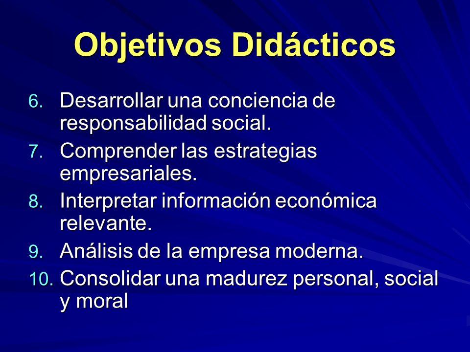 Objetivos Didácticos Desarrollar una conciencia de responsabilidad social. Comprender las estrategias empresariales.