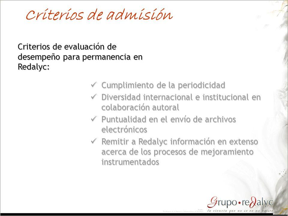 Criterios de admisión Criterios de evaluación de desempeño para permanencia en Redalyc: Cumplimiento de la periodicidad.