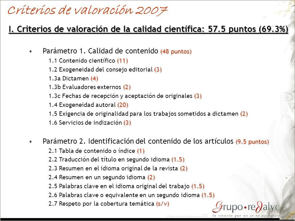 Criterios de valoración 2007
