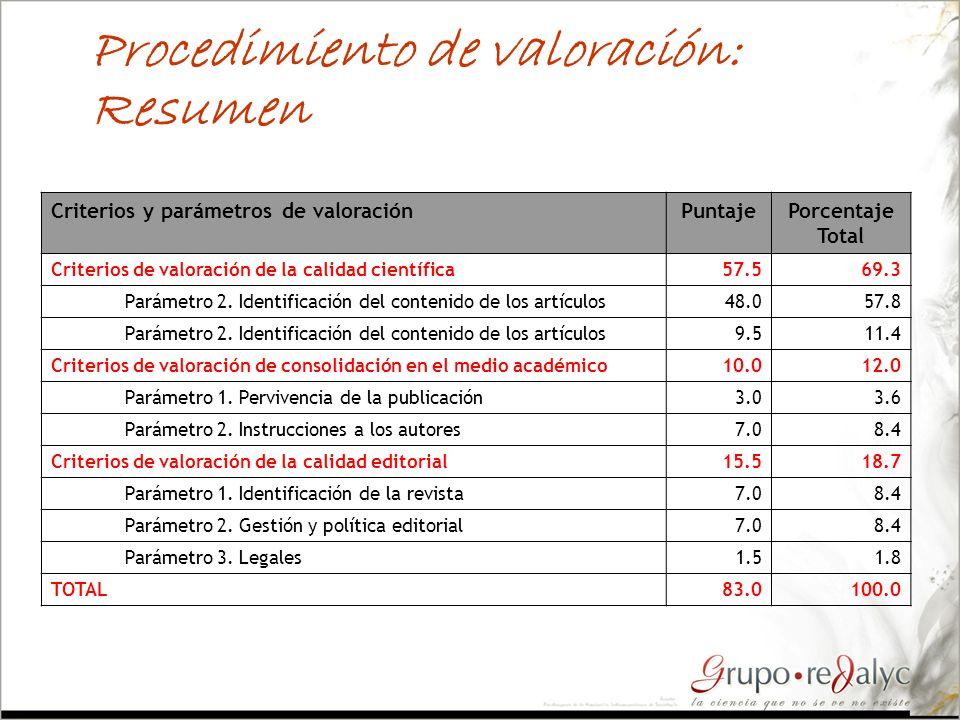 Procedimiento de valoración: Resumen