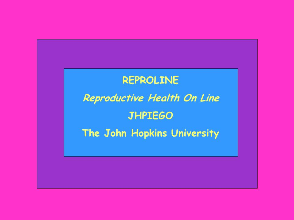 Reproductive Health On Line The John Hopkins University